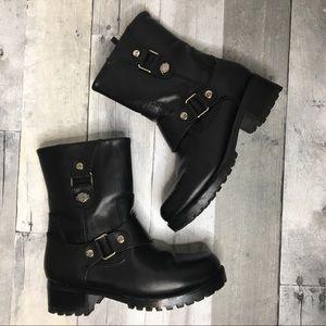 Harley Davidson Alivia Leather Combat Moto Boots